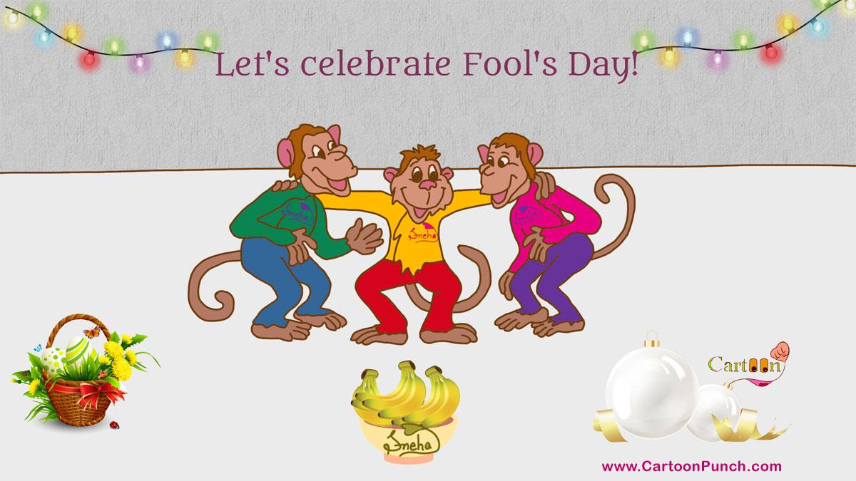 1st April: Fool Day Celebrating Monkeys cartoon illustration by Sneha
