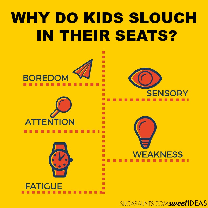 Sensory based reasons why kids slouch in their seats at school and at home.