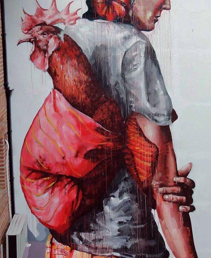"""The Displaced"" a new street art piece by Australian artist Fintan Magee. 2"