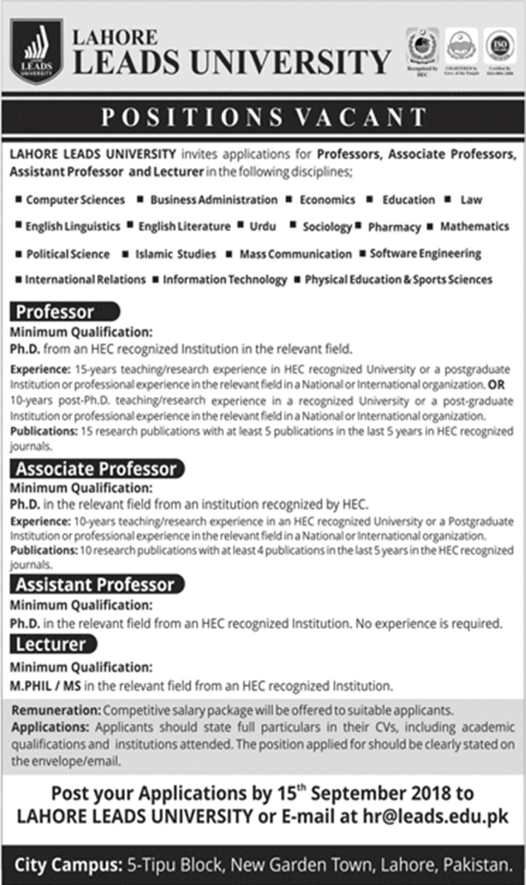 Leads university Lahore jobs 2018