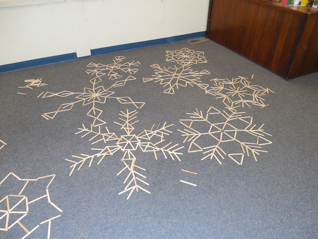 Mathematical angle snowflakes on Family STEAM Night