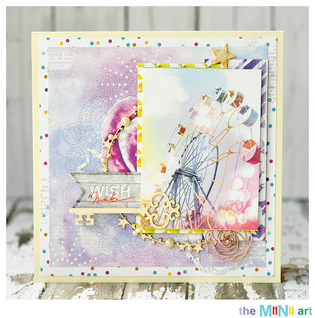make a wish | The Mini Art DT @akonitt #card #by_marina_gridasova #theminiart #lemonowl #chipboard #card #scrapbooking