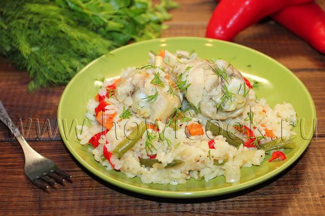 рецепт риса с курицей и овощами