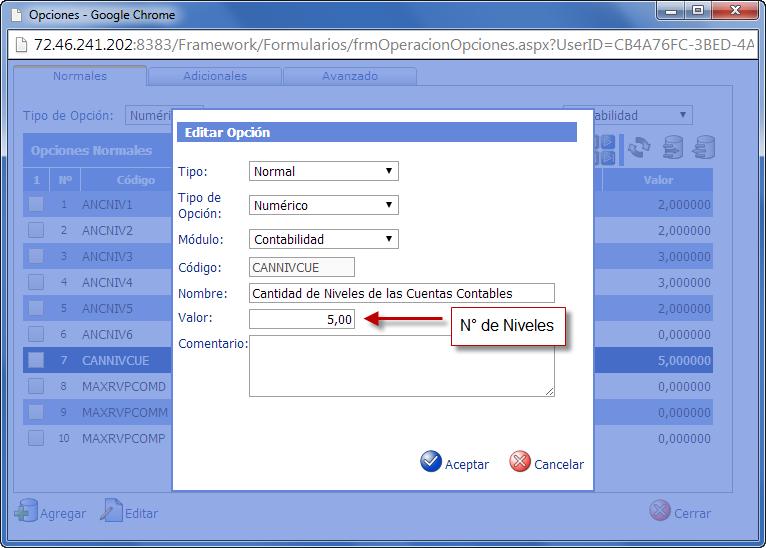 Opciones de Contabilidad: Cantidad de Niveles de las Cuentas Contables - Configuración del Plan de Cuentas en eFactory Contabilidad