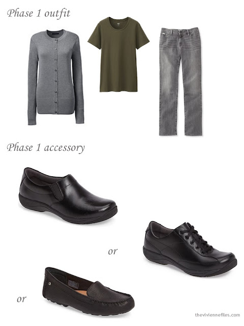 A choice of black shoes to wear with olive and grey