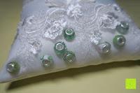Perlen: Hochzeit Ringkissen mit Satin Bogen 21cm* 21cm