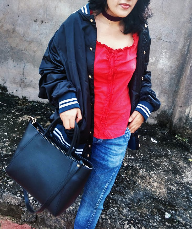black bomber NEWLOOK jacket,red ruffled pepe top, fashion blogger