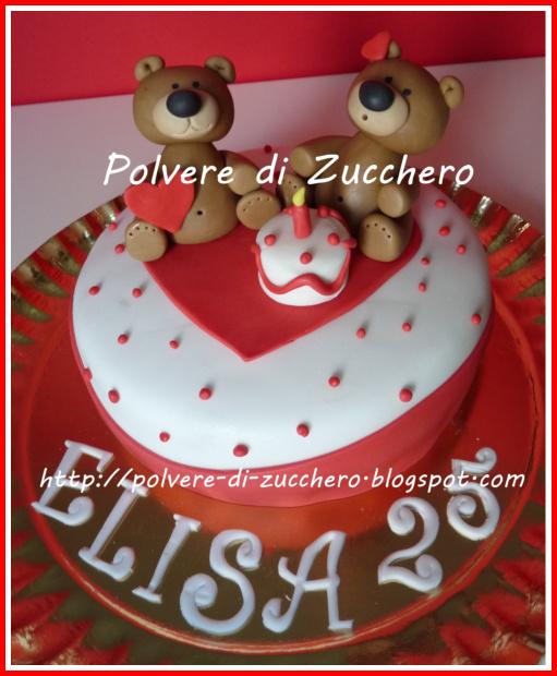 Torta Vasca Da Bagno.Torta Decorata Per Il Compleanno Orsetti Innamorati Polvere Di