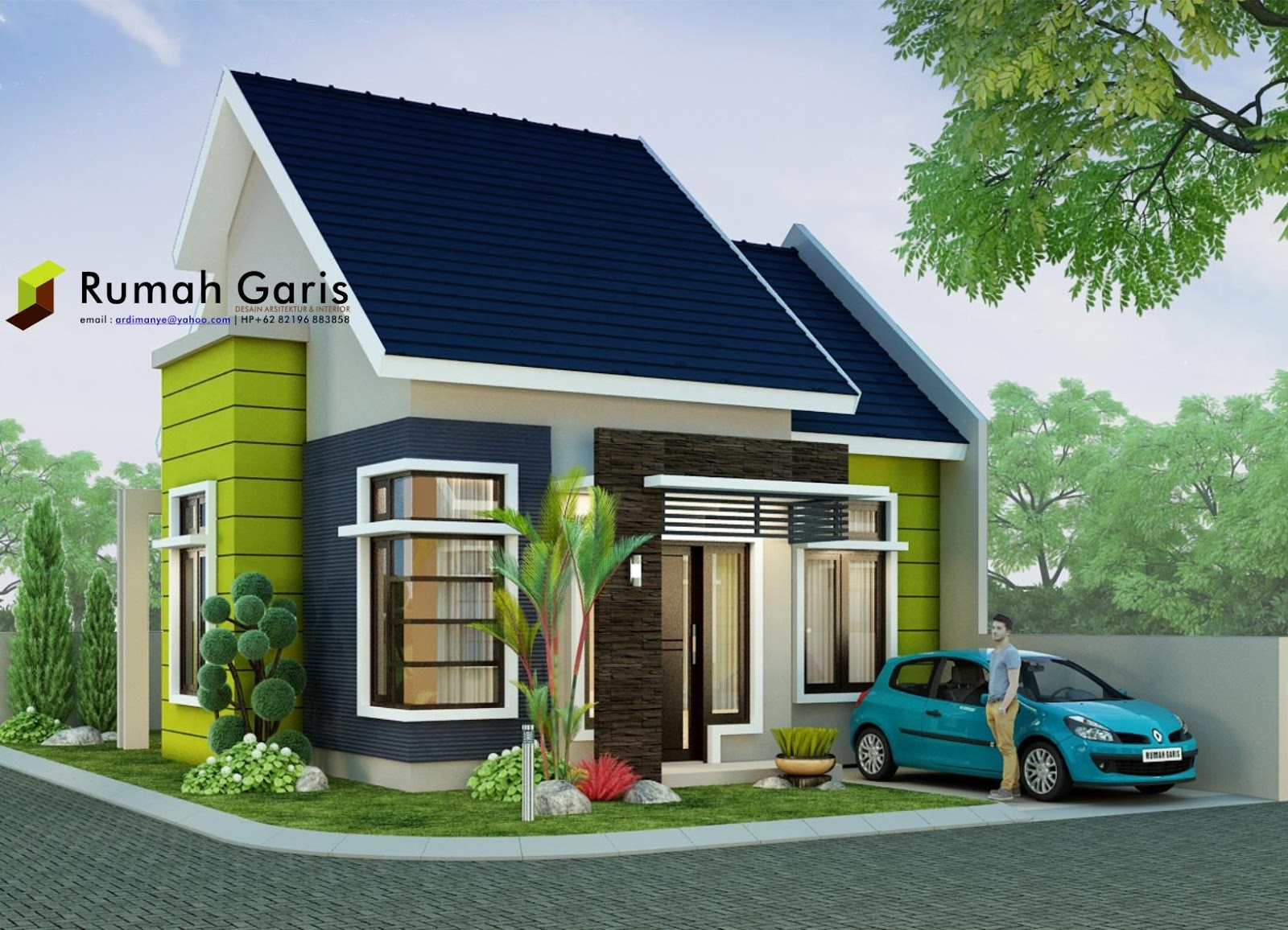 rumah minimalis modern tipe 60 di lahan sudut 10x15 meter rumah garis. Black Bedroom Furniture Sets. Home Design Ideas