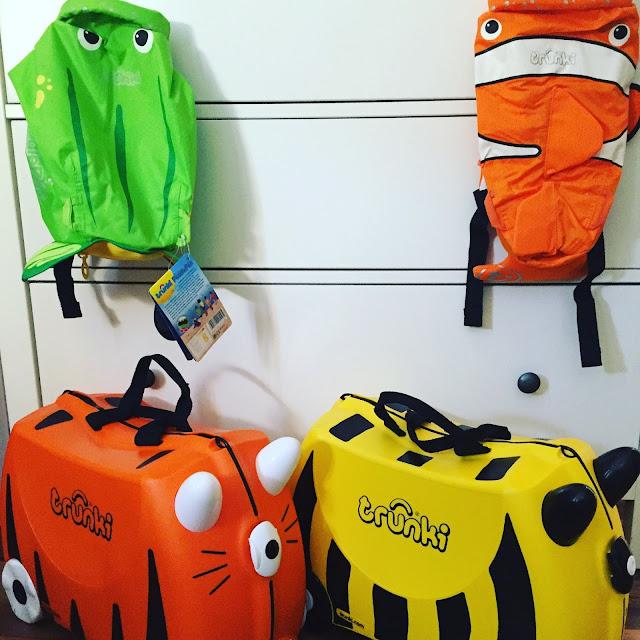 Urlaub mit Kindern, Rucksack und Koffer von trunki