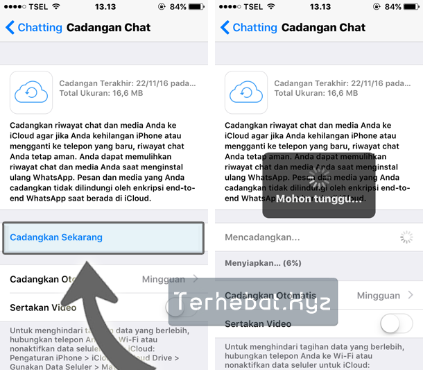 cara backup obrolan wa di iPhone