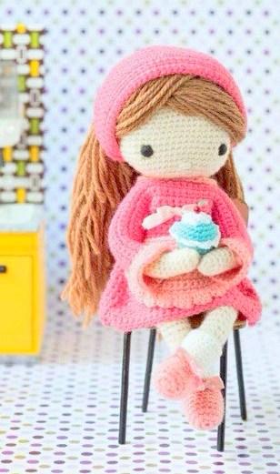 Crochet pattern amigurumi doll girl with headband and cupcake