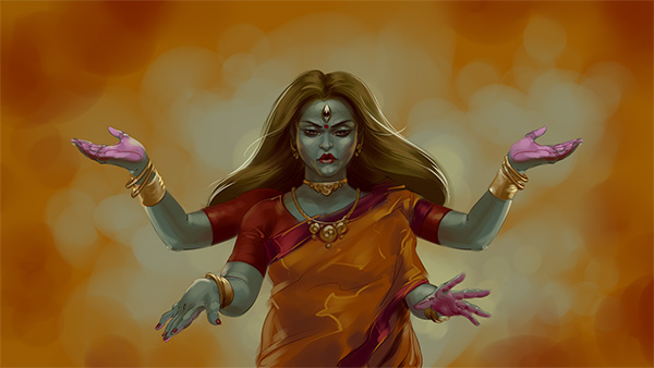 Chandi mata appearing painting illustration artwork