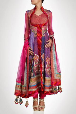 Purple color long anarkali shalwar kameez
