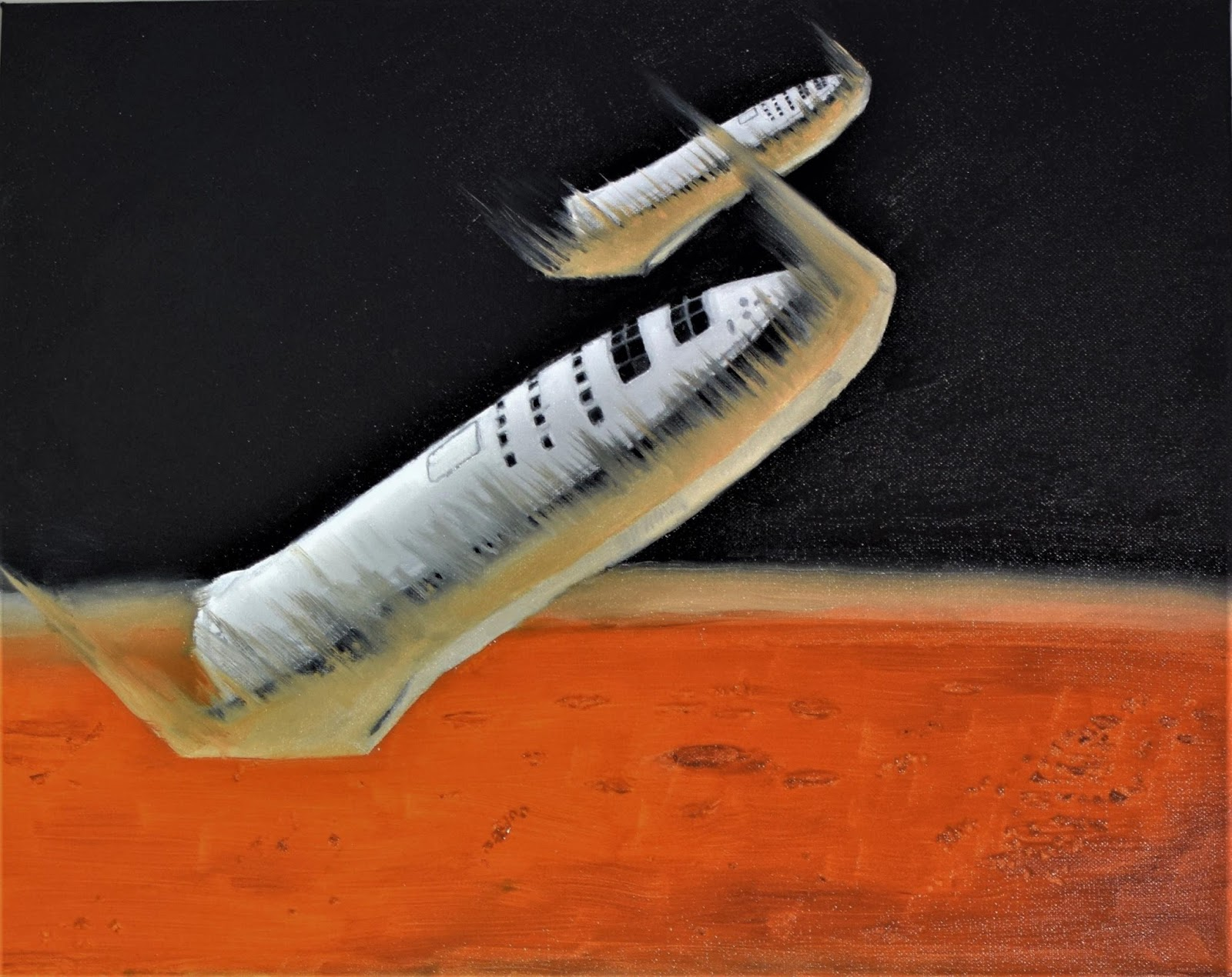 Painting of two SpaceX BFR spaceships entering Mars atmosphere