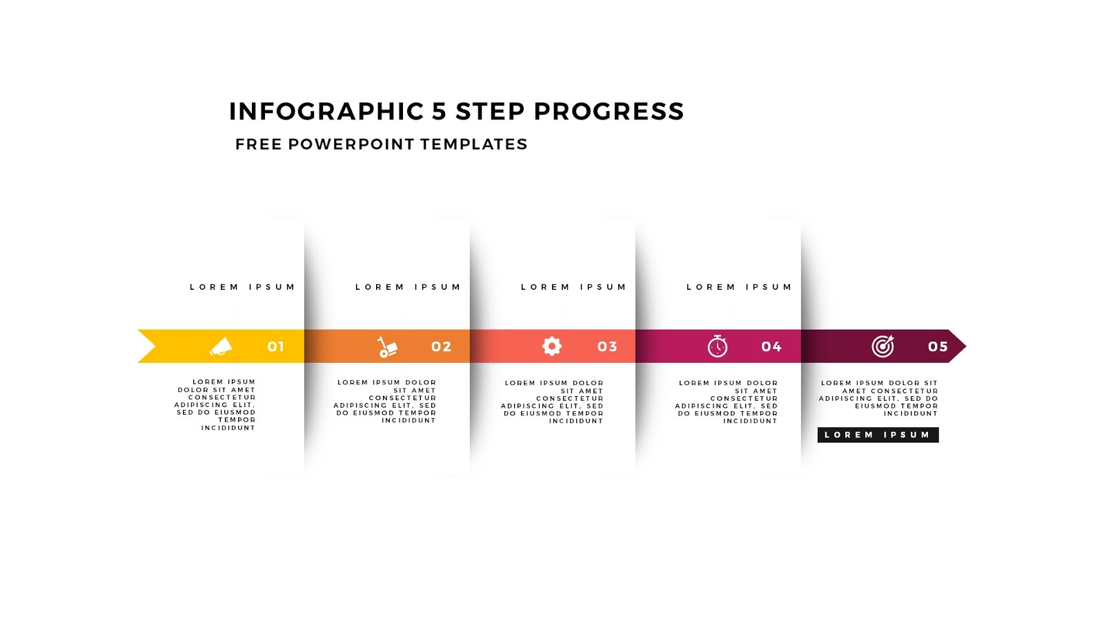 Five Step Progress With Arrow Diagrams Infographicon