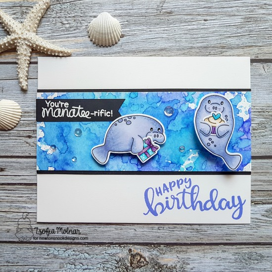 Manatee-rific Birthday Card by Zsofia Molnar | Manatee-rific, Sending Hugs, and Birthday Essentials Stamp Sets by Newton's Nook Designs #newtonsnook #handmade