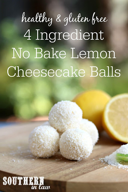 4 Ingredient No Bake Lemon Cheesecake Balls Recipe - gluten free, grain free, healthy, refined sugar free, nut free, clean eating dessert recipes