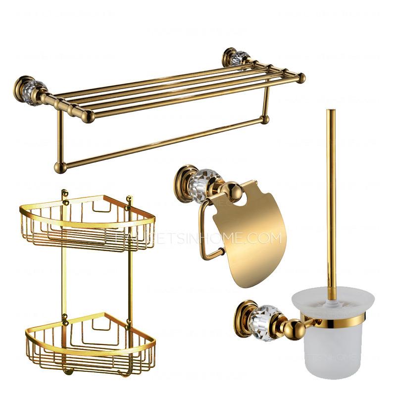 Golden Crystal Brass Bathroom Accessory Sets (4-piece)