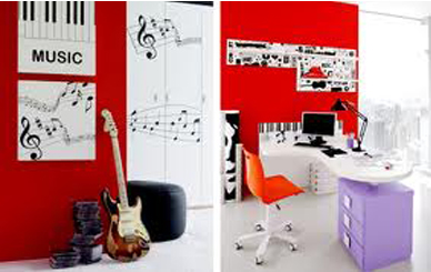 desain interior kamar minimalis bertema musik - desain rumah