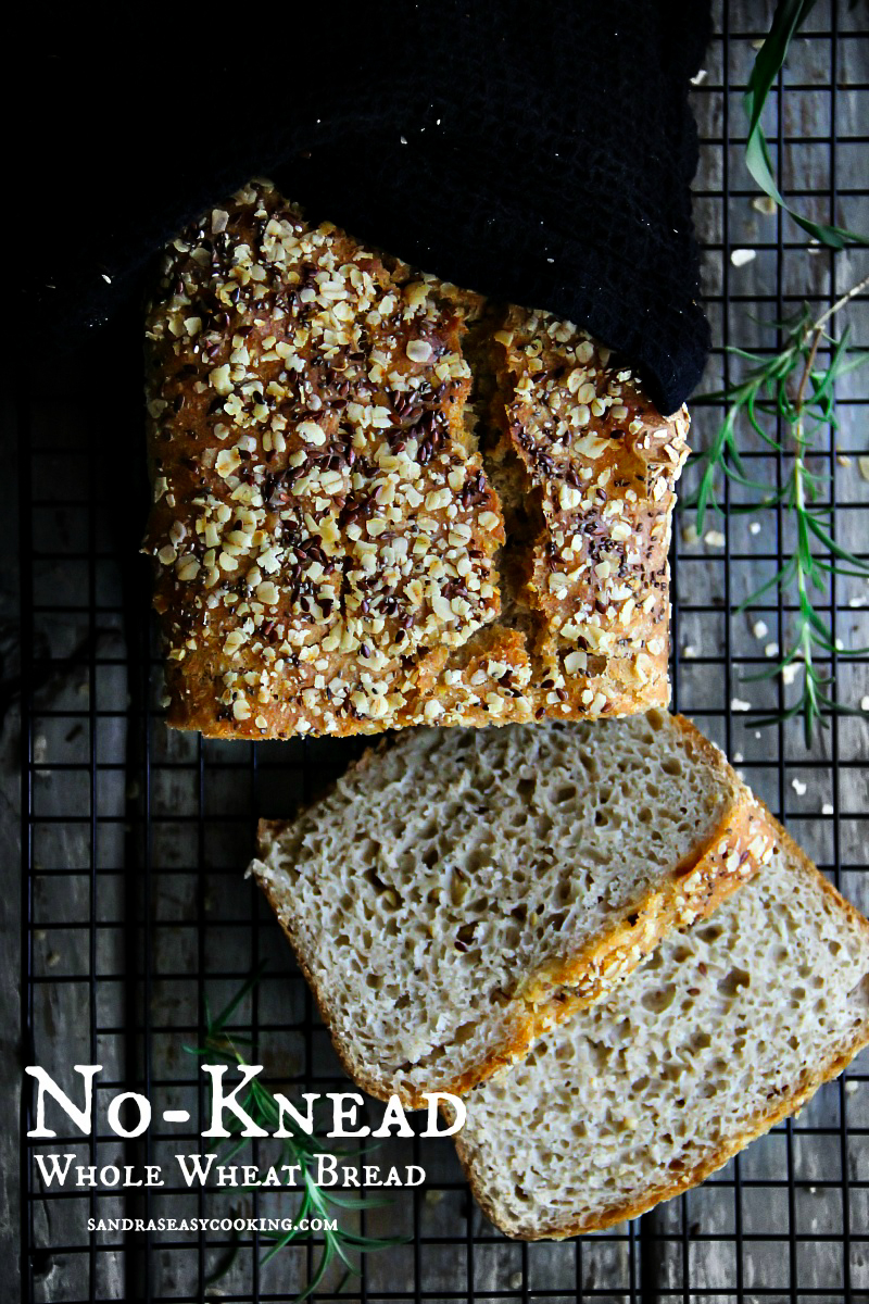 No-Knead Whole Wheat Bread with a video