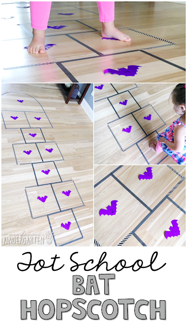 Learning is more fun when it involves movement! Practice balancing, hopping, jumping, number recognition, counting and more with this bat hopscotch gross motor activity. Great for tot school, preschool, or even kindergarten!