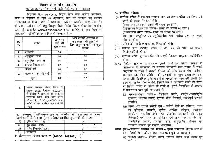 Bihar PSC Assistant Recruitment 2018: Apply Now BPSC Exam