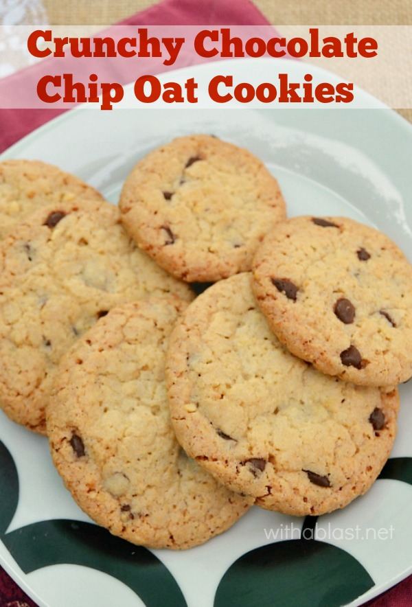 Crunchy Chocolate Chip Oat Cookies are a small batch recipe, but can easily be doubled or even tripled. This is the perfect crunchy cookie recipe !