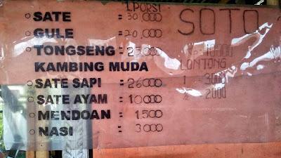 Daftar menu Warung Sate Khas Purwokerto di Tasikmalaya.