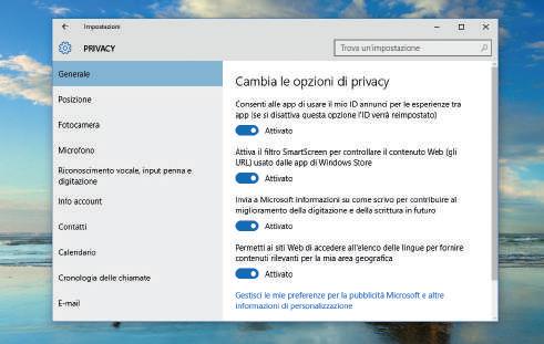 Come attivare le opzioni per la privacy windows 10