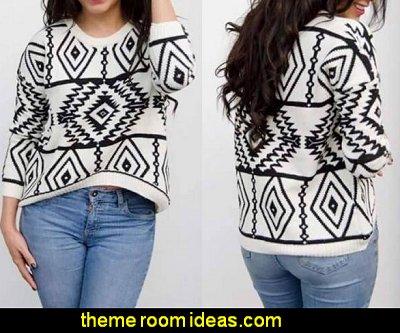 Women Loose Sweater Geometry Design Printed Long Sleeve Pullovers
