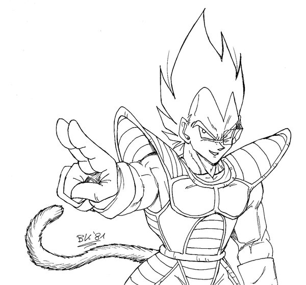 Dibujos de dragon ball z dibujos de dragon ball para for Goku and vegeta coloring pages