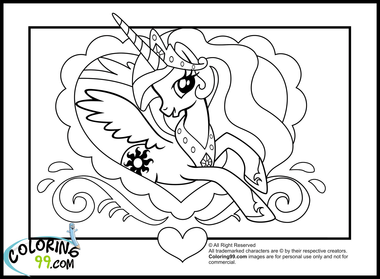 my little pony princess celestia coloring pages  team colors