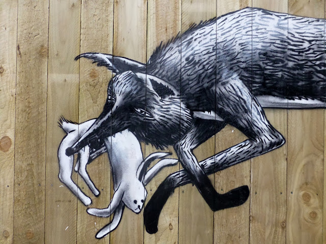 """""""Urban Foxes"""" New Street Art Piece By Phlegm On The Streets Of His Hometown, Sheffield, UK 2"""