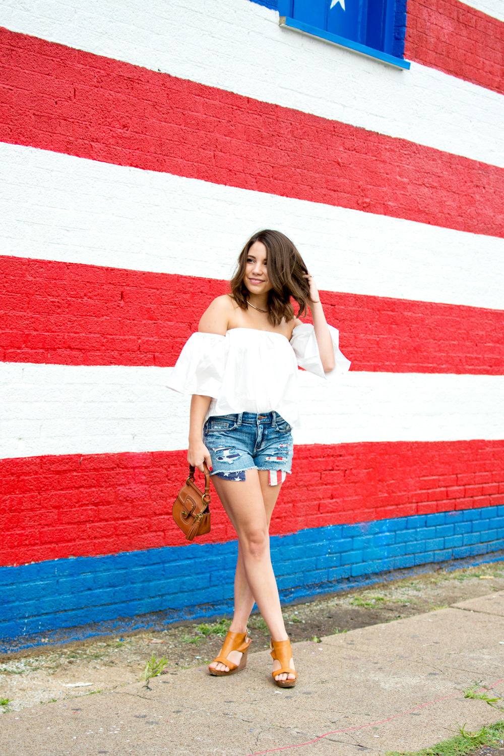 July 4th Outfit idea cutoff shorts white off the shoulder top