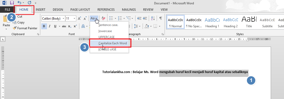 Cara cepat mengubah huruf kecil menjadi huruf kapital atau sebaliknya di Word