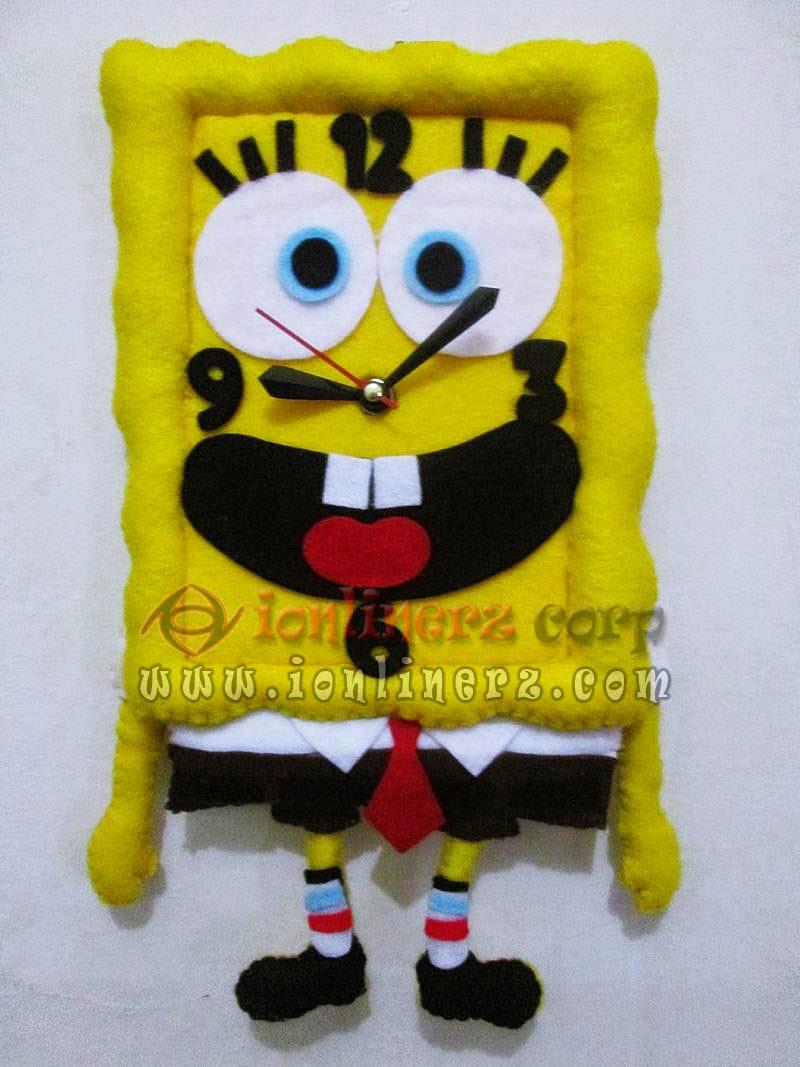 Jam Dinding Flanel Karakter Kartun Boneka Spongebob Square Pants