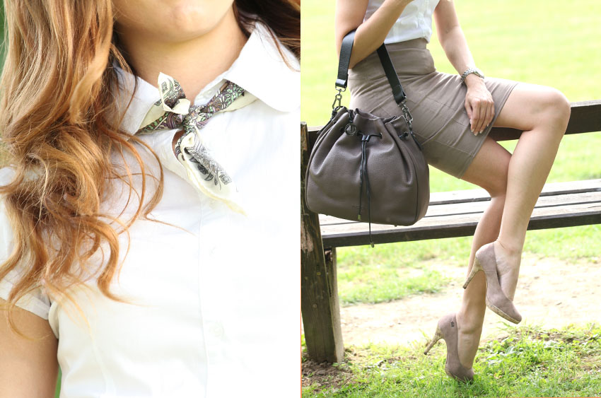 Peter Hahn klassische Bluse mit Bleistiftrock Details Tuch Tasche Schuhe