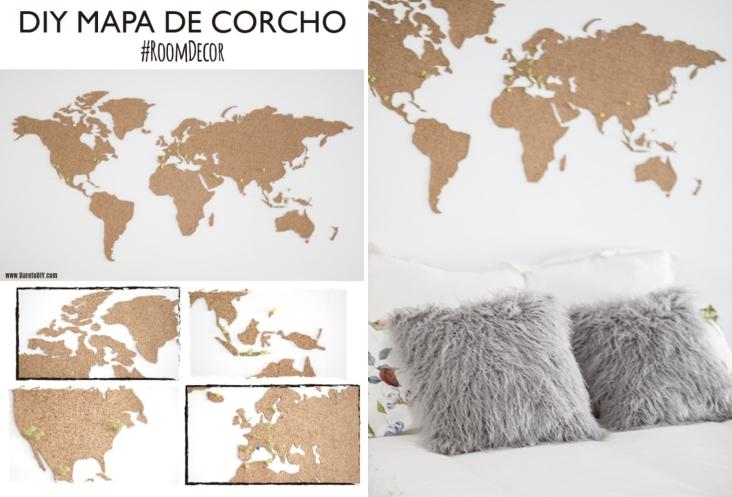 Shibar ita diy decorativos para amantes viajeros - Mapa de corcho ...