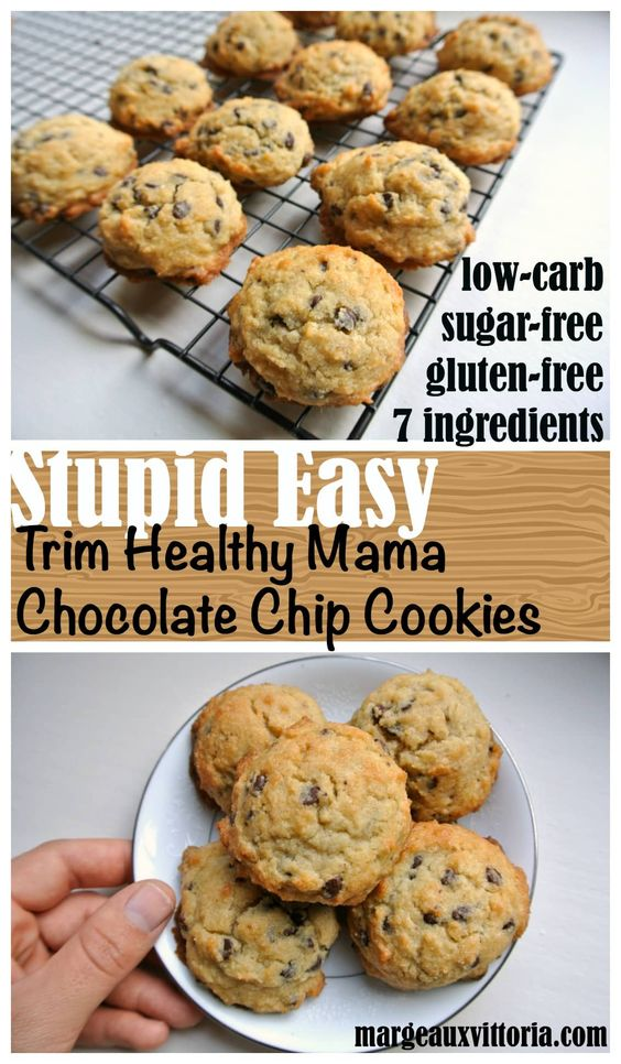 Stupid Easy Trim Healthy Mama Chocolate Chip Cookies - Melissa C. Klein | Healthy Dinner Recipes Easy