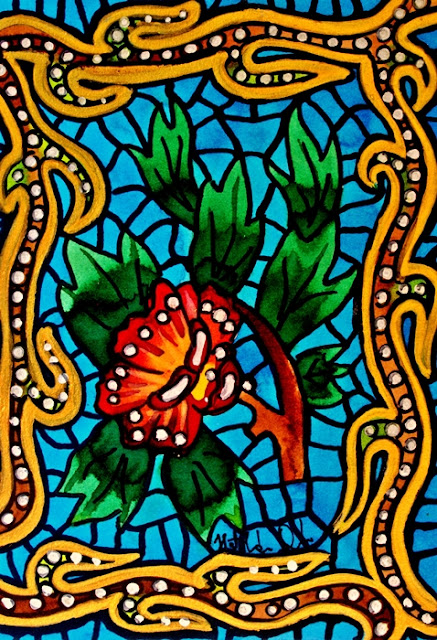 Blue Stained Glass Flower by Dora Hathazi Mendes