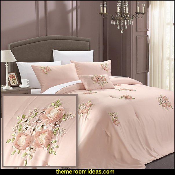 Chic Home Rosetta 5-Piece Comforter Set Pink