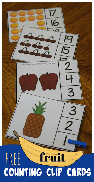 These FREE Count to 20 Fruit Clip Cards are a fun way for kindergarten, preschool, and first grade to practice counting 1-20. Cute printables for preschoolers and I love that it is a reusable clip cards free and perfect for math centers #counting #kindergarten #preschool