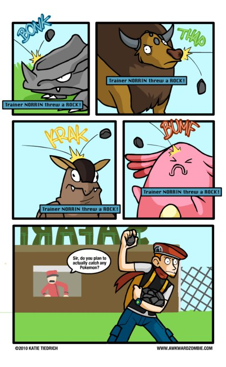 Funny Pokemon comic about throwing rocks in the Safari Zone