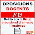 Publicació de la llista d'admesos i exclosos provisionals d'aspirants a les oposicions