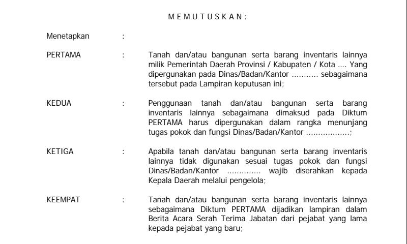 Contoh Format Sk Penetapan Status Penggunaan Barang Milik DaerahHalaman 2 Inventaris Sekolah