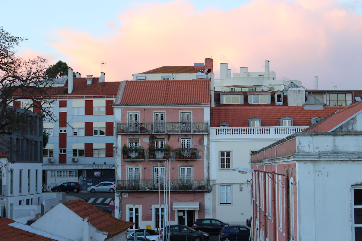 This is a photo of the colorful houses in Lisbon, close to the Belem Tower.