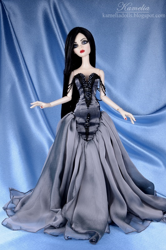 Grey haute couture dress for Wilde Imagination doll