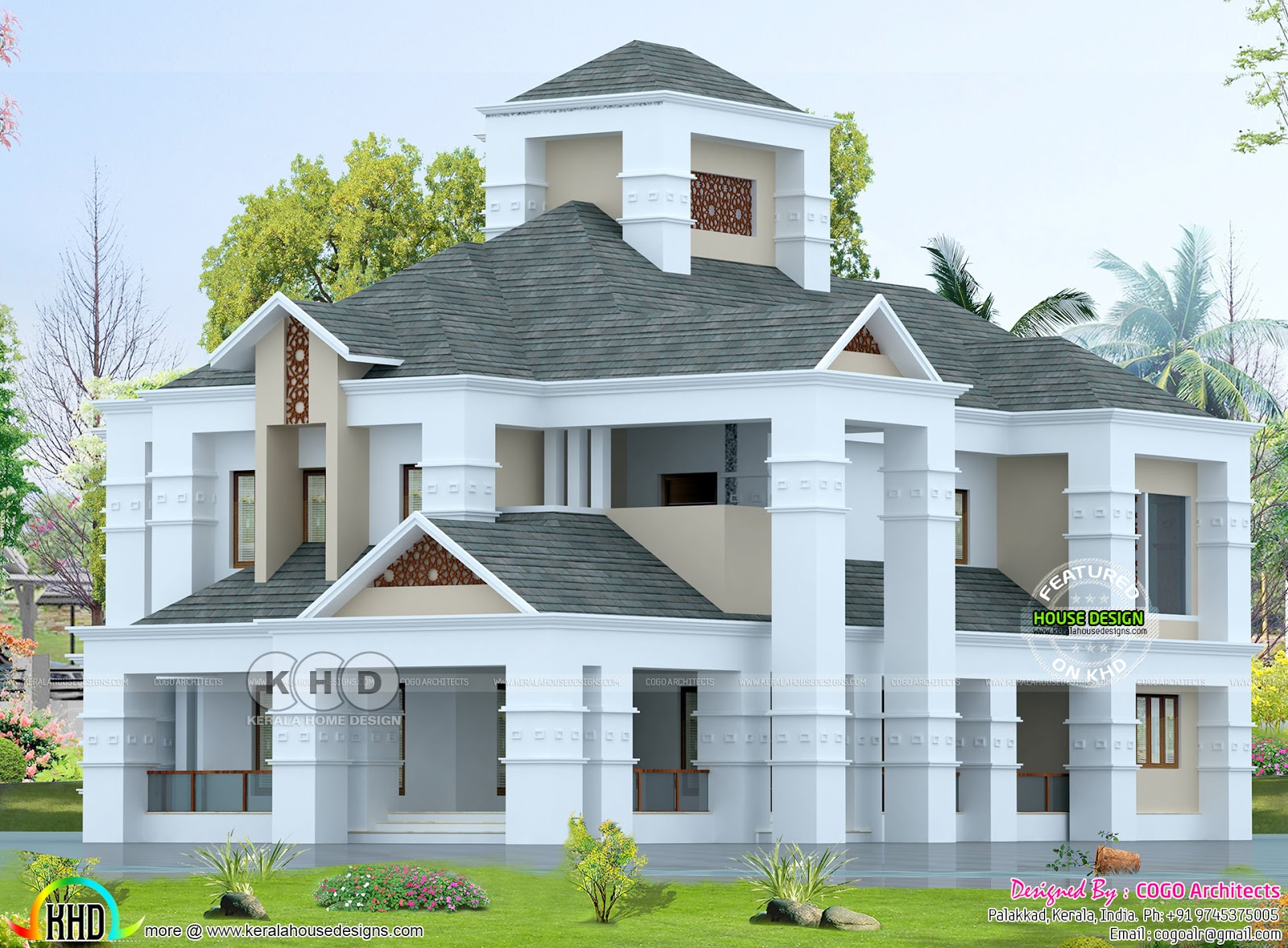 Colonial style luxury home 5 bedroom kerala home design for Colonial luxury house plans
