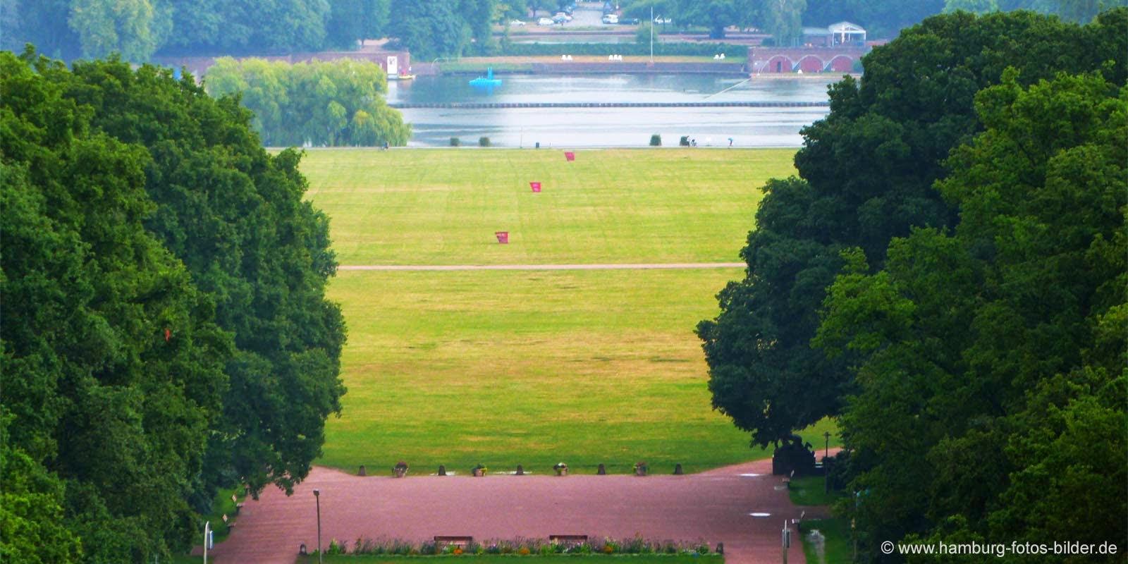 Planetarium Hamburg Aussicht, Blick von oben auf den Stadtpark